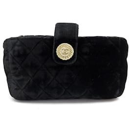 Chanel-NEW CHANEL COIN WALLET IN BLACK VELVET MATTRESS BLACK VELVET NEW WALLET-Black