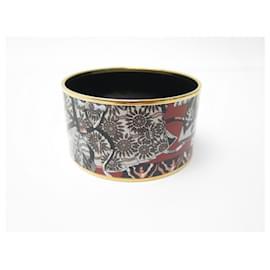 Hermès-NEW HERMES BRACELET PRINTED EMAIL XL 18 CM GOLD PLATE NEW ENAMEL JEWEL-Multiple colors
