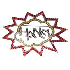 Chanel-NEW CHANEL LOGO STRASS BROOCH 2017 IN SILVER METAL + NEW BROOCH BOX-Silvery