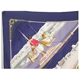 Hermès-HERMES GRONLAND GREENLAND LEDOUX SQUARE SCARF 90 SILK BLUE SILK SCARF-Navy blue