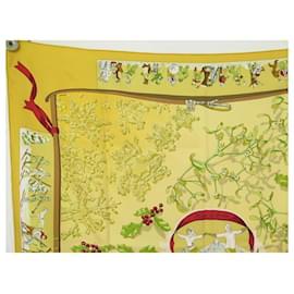 Hermès-HERMES NEIGE D'ANTAN CATY LATHAM SQUARE SCARF 90 IN YELLOW SILK SILK SCARF-Yellow