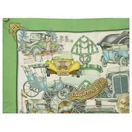 Hermès-HERMES AUTOMOBILE SCARF JOACHIM METZ CARRE 90 SILK GREEN SILK SCARF-Green