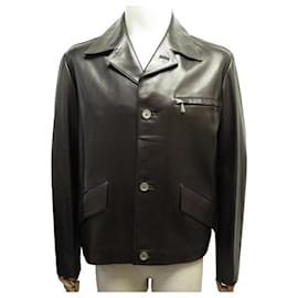 Hermès-NEW HERMES JACKET BROWN LAMBS LEATHER JACKET M 50 LEATHER JACKET VEST-Brown
