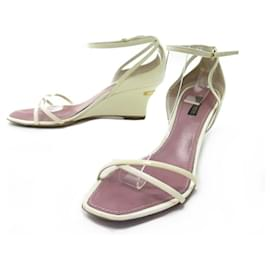 Louis Vuitton-LOUIS VUITTON SHOES WEDGE SANDALS 39 IN WHITE PATENT LEATHER SHOES-White