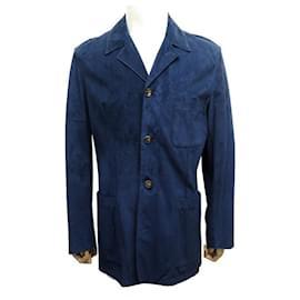 Hermès-NEW HERMES M JACKET 48 IN NAVY BLUE PIGSKIN LEATHER NEW PEGSKIN JACKET-Navy blue