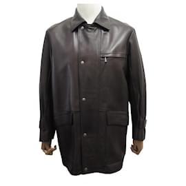Hermès-HERMES LONG M JACKET 48 BROWN LAMB LEATHER JACKET COAT-Brown