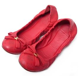Louis Vuitton-LOUIS VUITTON BALLERINAS ELBA SHOES 39 IN RED MONOGRAM LEATHER SHOES-Red