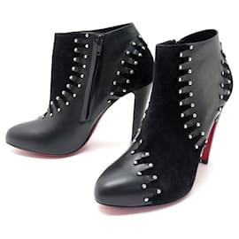 Christian Louboutin-NEW CHRISTIAN LOUBOUTIN VOLVOTICO SHOES 100 40 LEATHER ANKLE BOOTS-Black