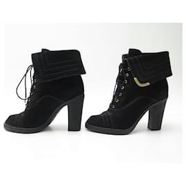 Louis Vuitton-LOUIS VUITTON SHOES LACE-UP BOOTS 38 BLACK SUEDE LACE BOOTS-Black
