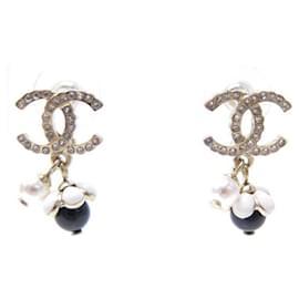 Chanel-NEW CHANEL AB EARRINGS5708 LOGO CC STRASS GOLDEN PERLES EARRINGS-Golden