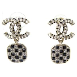 Chanel-NEW CHANEL CC LOGO PEARLS & GOLDEN STRASS NEW EARRINGS EARRINGS-Golden