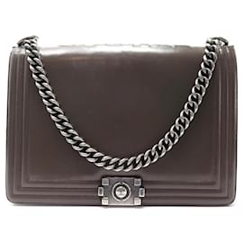 Chanel-CHANEL GRAND BOY BANDOULIERE BROWN LEATHER HAND BAG-Brown