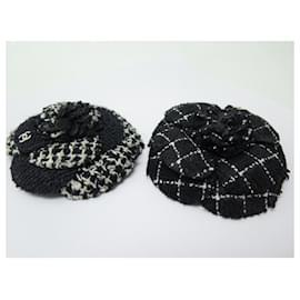 Chanel-NEW LOT CHANEL BROOCH 2 BLACK TWEED CAMELIAS NEW BROOCH SET JEWEL-Black