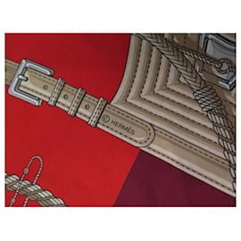 Hermès-NEW HERMES SCARF MAXI TWILLY CLIC CLAC MODERN CANNAGE + SILK SILK BOX-Red