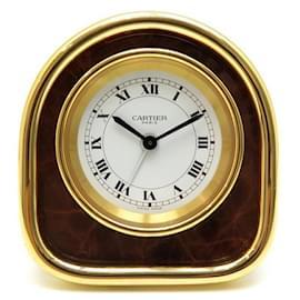 Cartier-VINTAGE PENDULETTE CARTIER REVEIL DE VOYAGE 7504 EN PLAQUE OR DORE TRAVEL CLOCK-Doré