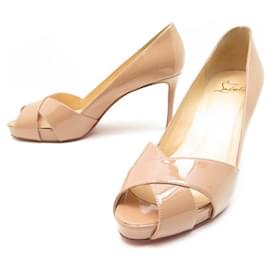 Christian Louboutin-NEW CHRISTIAN LOUBOUTIN SHOES SHELLEYMAT SANDALS 38 Patent leather-Beige