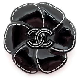 Chanel-CHANEL CAMELIA CC LOGO BROOCH IN BLACK RESIN BROOCH BLACK FLOWER-Black