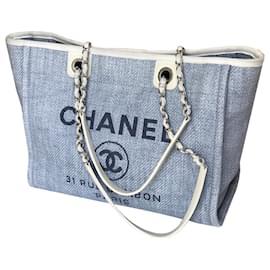 Chanel-Deauville Tote 34 cm-Light blue