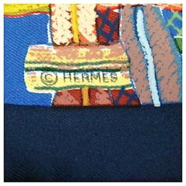 Hermès-Foulard en soie imprimée bleu Hermès-Bleu,Multicolore