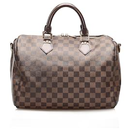 Louis Vuitton-Louis Vuitton Brown Damier Ebene Speedy Bandouliere-Brown
