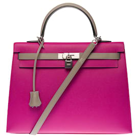 Hermès-Exceptional Hermes Kelly bag 35 cm Special Order (Horse Shoe Special) two-tone shoulder strap with saddle stitching in Epsom leather in Purple Pink & Asphalt Gray, matte brushed silver metal trim!-Pink
