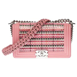 Chanel-Chanel Boy Old Medium shoulder bag in pink leather , shiny silver metal hardware-Pink