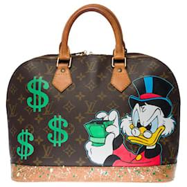 "Louis Vuitton-Louis Vuitton Alma bag in brown monogram canvas customized ""Picsou loves Money""-Brown"