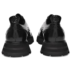 Alexander Mcqueen-Derby Flat Shoes in Black Leather-Black