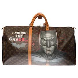 "Louis Vuitton-Beautiful Louis Vuitton Keepall travel bag 60 in custom brown monogram canvas ""BATBAG""!-Brown"