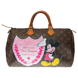 "Louis Vuitton-Louis Vuitton Speedy Handbag 35 in custom Monogram canvas ""Mickey loves Champagne""-Brown"