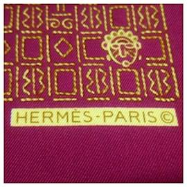 Hermès-Hermes Red Printed Silk Scarf-Red
