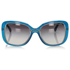 Chanel-Chanel Blue Square Tinted Sunglasses-Blue