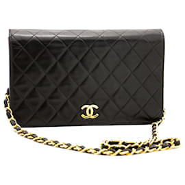 Chanel-CHANEL Full Flap Chain Shoulder Bag Clutch Black Quilted Lambskin-Black
