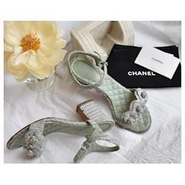 Chanel-Tweed Heeled Sandals-Light green
