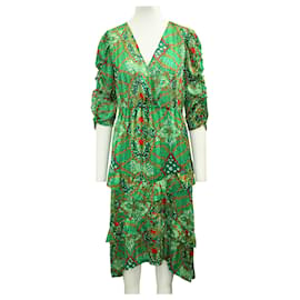 Ba&Sh-Robe longue imprimée verte-Vert