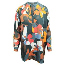 Loro Piana-Chemise oversize en soie à imprimé multicolore-Multicolore
