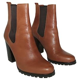 Coach-Brown leather boots-Brown