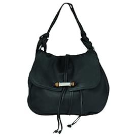 Gucci-Big Textured Leather Bamboo Hobo Bag-Black