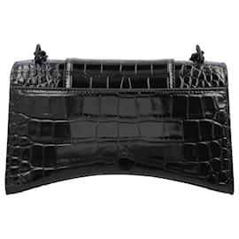 Balenciaga-Hourglass Small Croc-Black