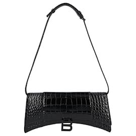 Balenciaga-Hourglass Sling Mock-Croc-Black