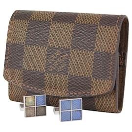 Louis Vuitton-Damier Ebene Buton De Manchette Cufflink and Pouch Set-Other