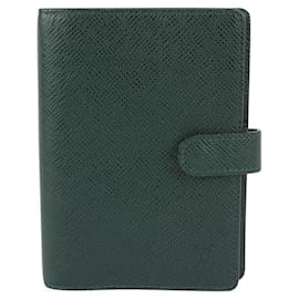 Louis Vuitton-Green Taiga Leather Small Ring Agenda PM-Other
