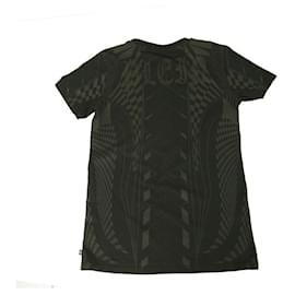 Philipp Plein-Philipp Plein Junior Black Gray Logo Top Cotton T-Shirt for boys or girls 14 -15-Black,Grey