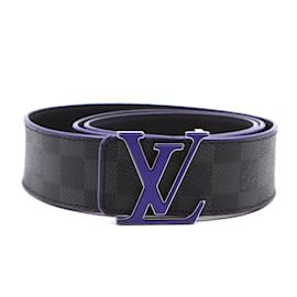 Louis Vuitton-Louis Vuitton Damier Graphite 40mm LV Initials Belt Size 100/40-Black