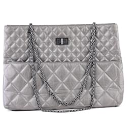 Chanel-Chanel Silver Grey Tall Quilted Classic Reissue Tote Bag-Grey