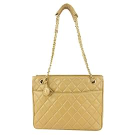 Chanel-Beige Quilted Lambskin ShopperTote Chain Bag-Other