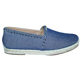 Christian Louboutin-Denim Espadrilles with Silver Studs-Other