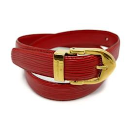 Louis Vuitton-Red Epi Leather Ceinture Belt-Other