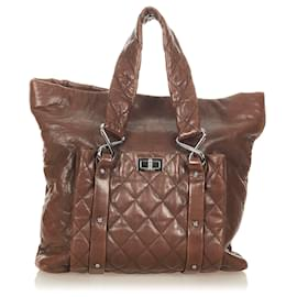 Chanel-Chanel Brown 8 Knots Lambskin Leather Tote Bag-Brown,Dark brown
