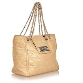 Chanel-Chanel Brown Matelasse Reissue East West Tote Bag-Brown,Beige